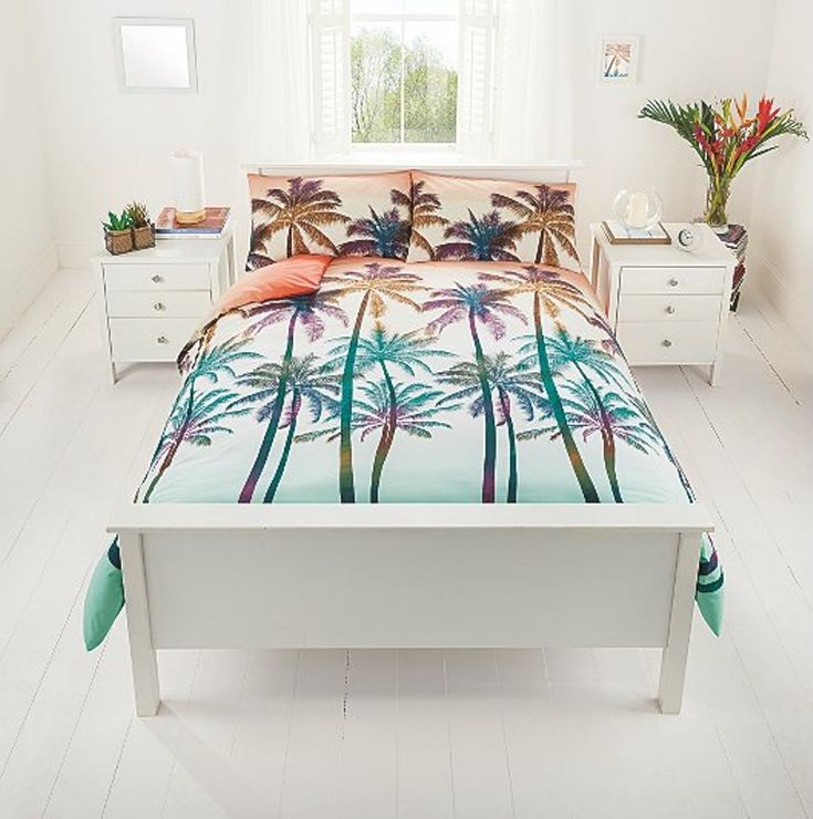 White Bedroom With Ombre Palm Tree Bedding