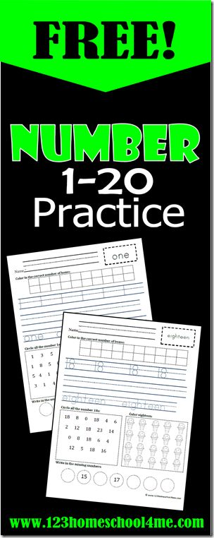 FREE number worksheets for the numbers 1-20.