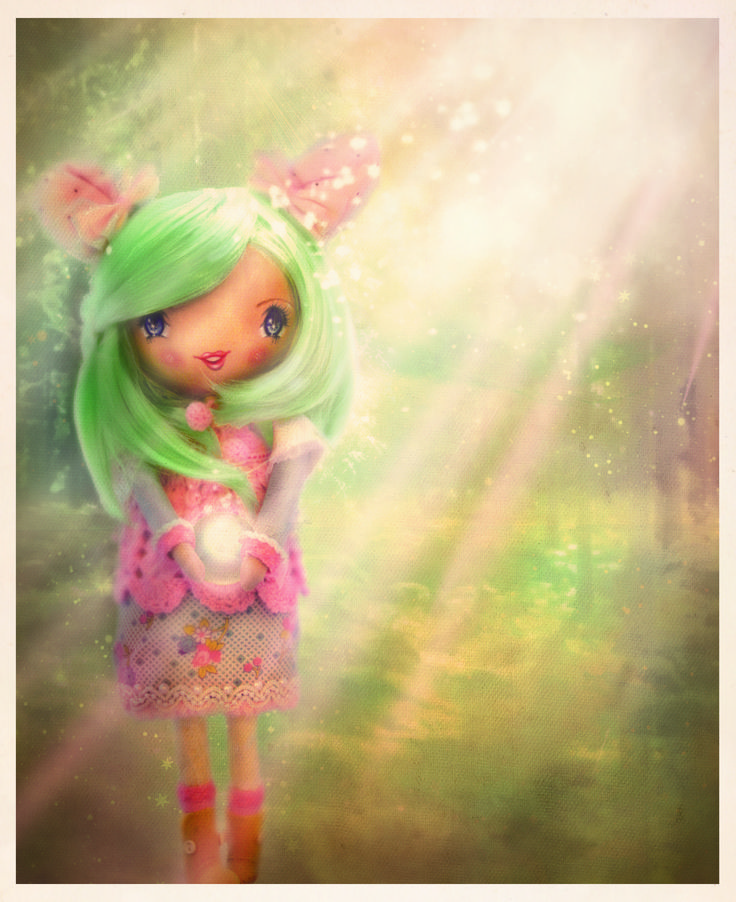 alice wont-wooden  doll girl in forest