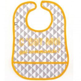 bavoir plastifié récupérateur en coton enduit C'est moi qui commande gris et jaune