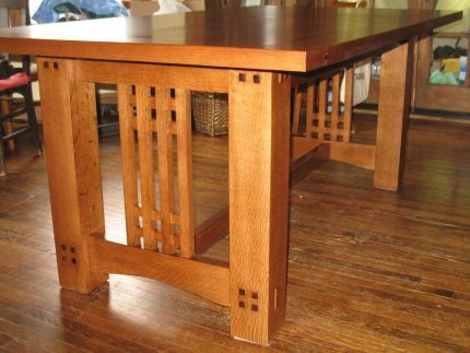 Quote: This was my first dining table project and was, by far, the biggest I have done to date. I designed and built this table myself drawing inspriation from the Arts & Crafts movement and, specifically, furniture designs by Stickley, Mackintosh and Greene & Greene.