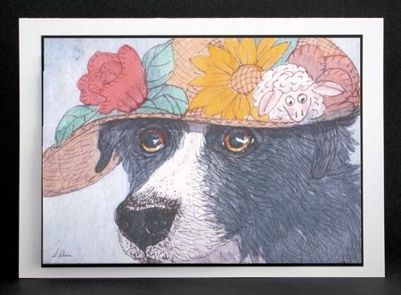 It was her special bonnet - Border Collie dog in a bonnet wavy edged stacker by Marion Kimberley-Scott
