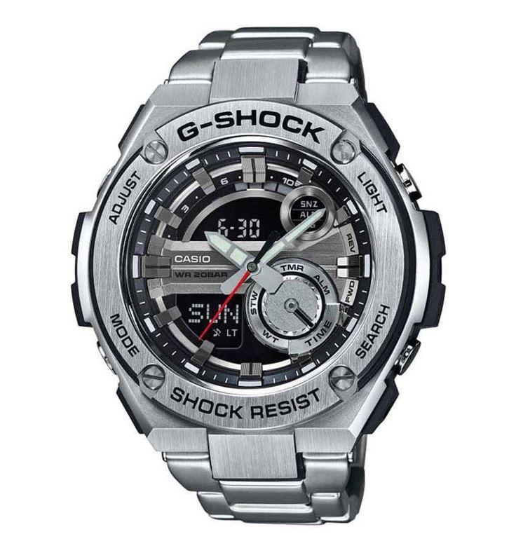 Casio G-Shock GST-210D-1AER. Dit mooi en stoere horloge heeft Super-auto-Led-Light. Zodra het omgevingslicht verzwakt zorgt een draai met uw pols er voor dat de display van het horloge vooral helder en kleurrijk verlicht wordt. Natuurlijk is dit horloge tril- en schokbestendig. De wijzers en index hebben een fluorescerende laag waardoor deze oplichten in het donker als het horloge kort daarvoor aan het licht is blootgesteld. De Wereldtijd klokfunctie kan de juiste tijd aangeven in maximaal…