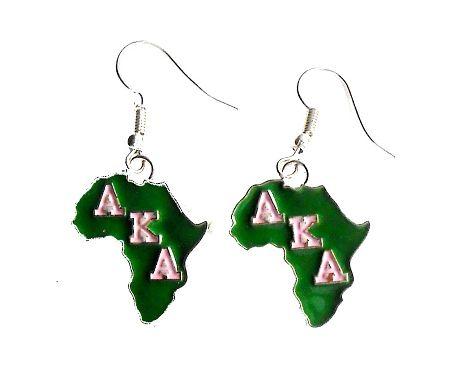Alpha Kappa Alpha Sorority Africa Greek Letter Earrings