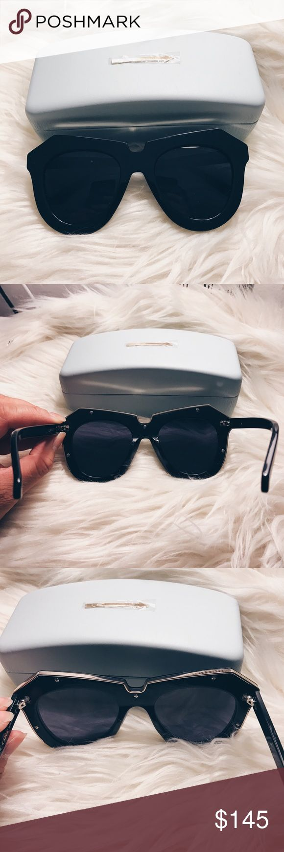 """Karen Walker """"One Meadow"""" Sunglasses  Karen Walker """"One Meadow"""" Sunglasses  Excellent condition. Worn one time. Minor scratch on the frame (as shown in 4th photo). It is not noticeable when worn. Case and tags included. Black with a gold rim accent. Karen Walker Accessories Sunglasses"""