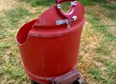 DIY Plastic Barrel Wheelbarrow