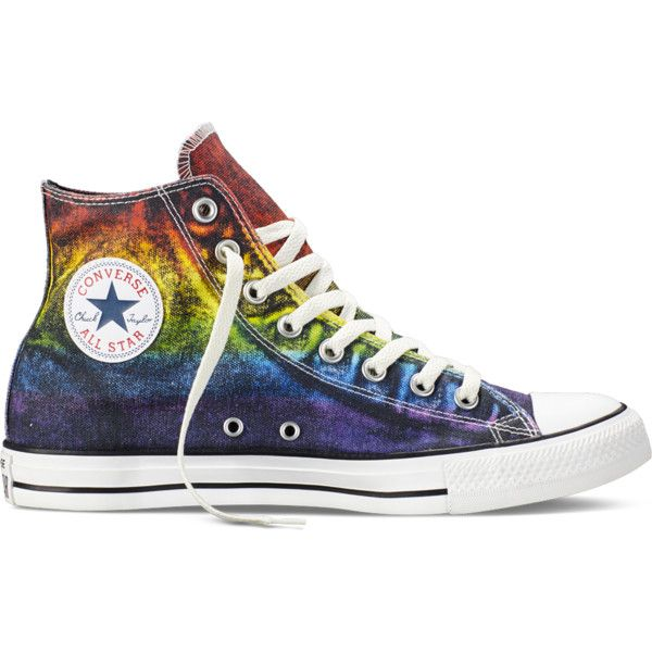 Converse Chuck Taylor All Star Pride – red/yellow/purple Sneakers ($65) ❤ liked on Polyvore featuring shoes, sneakers, converse, rainbow, yellow shoes, converse shoes, purple high tops, rainbow sneakers and red shoes