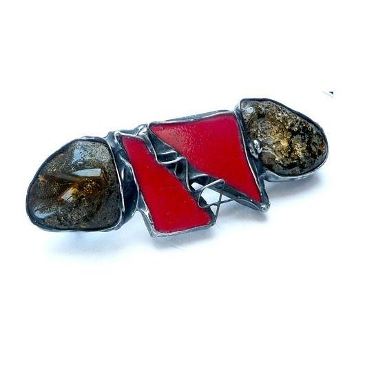 Hairpin (barrette) - ceramics and Baltic rare dark amber // Spinka do włosów z ceramiką i bursztynem