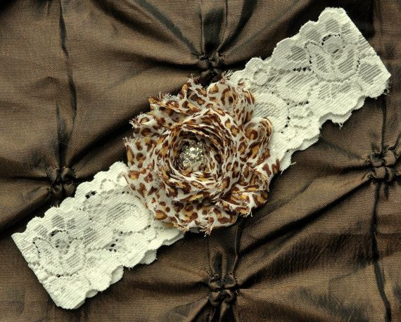 Something like this could be fun! Leopard Wedding Garter Bridal Garter  Ivory by somethingnewdesigns, $10.00