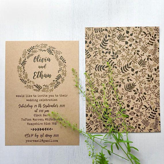 Wedding invitations online Kraft rustic wedding invitation