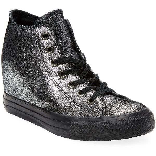 Converse Women's Chuck Taylor Lux Hidden Wedge Sneaker - Silver, Size... ($55) ❤ liked on Polyvore featuring shoes, sneakers, silver, wedged sneakers, hidden wedge sneakers, wedge trainers, hidden wedge shoes and lace up sneakers