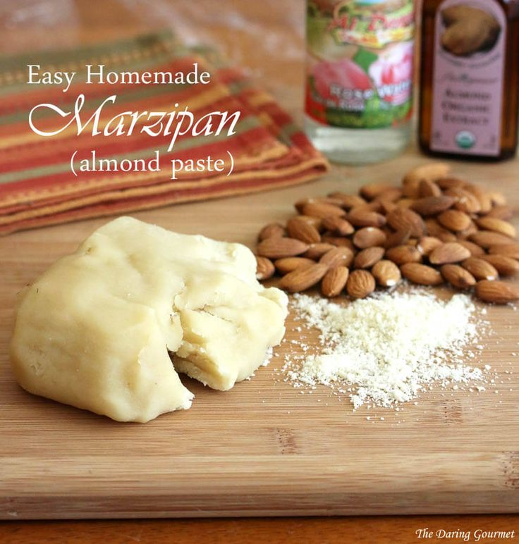 A fool-proof recipe for quick and easy homemade marzipan.1½ cups almond flour/meal (either blanch and grind the almonds yourself or buy almond meal) 1½ cups powdered sugar 2 teaspoons pure almond extract 1 teaspoon quality food grade rose water 1 egg white