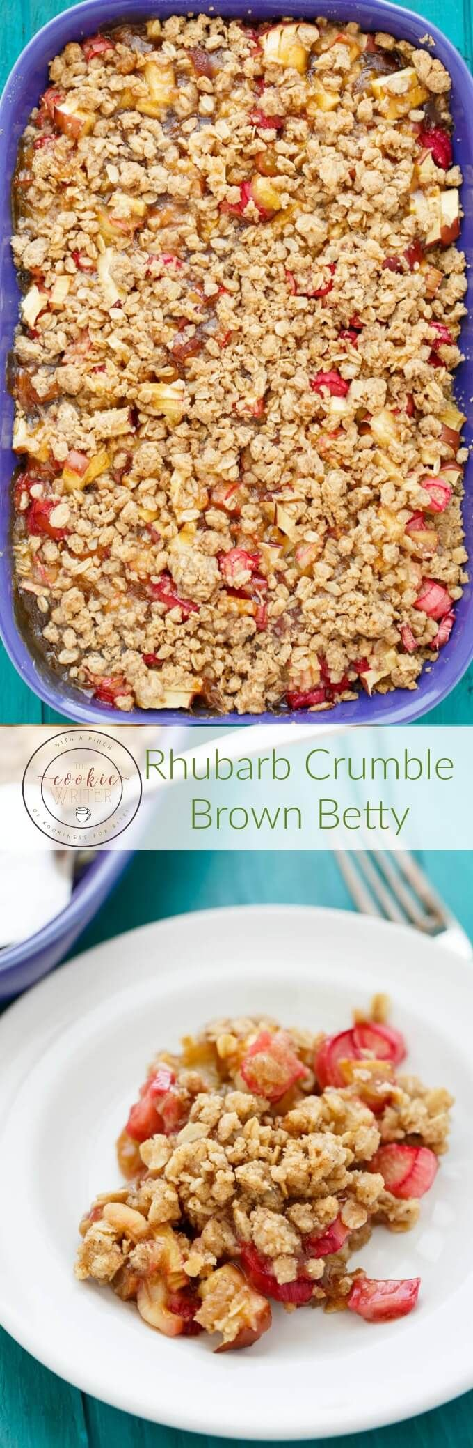 Rhubarb Crumble Brown Betty | http://thecookiewriter.com | @thecookiewriter | #dessert