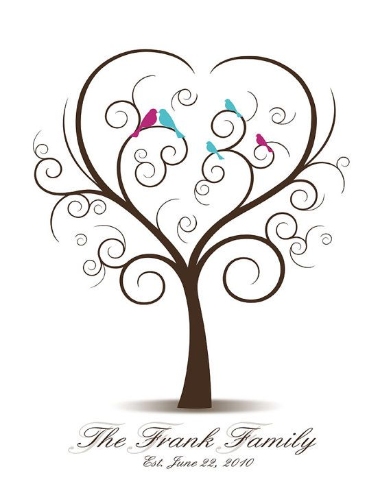 DIY Family Tree with Love Birds and Baby Birds - Printable PDF - Digital Curly Fingerprint Signature Family Tree