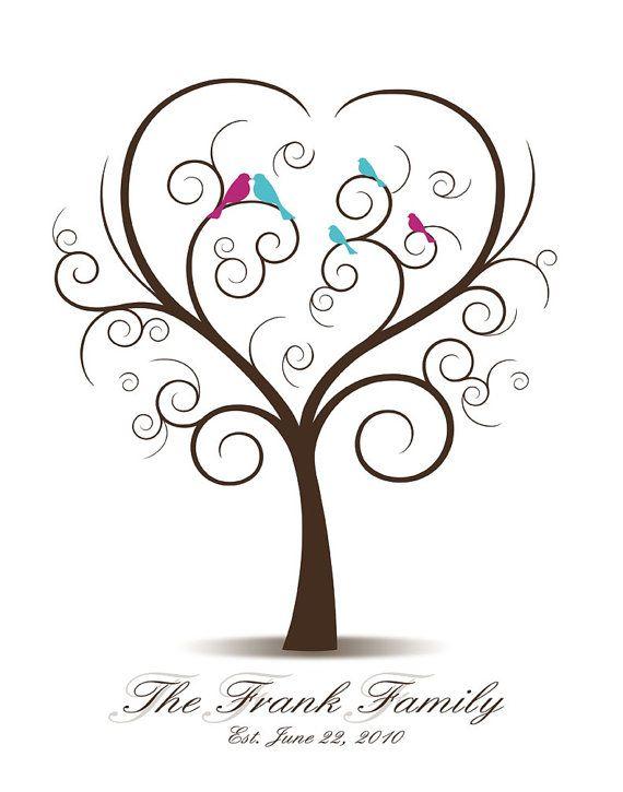 DIY Family Tree with Love Birds and Baby Birds - Printable PDF - Digital Curly Fingerprint Signature Family Tree