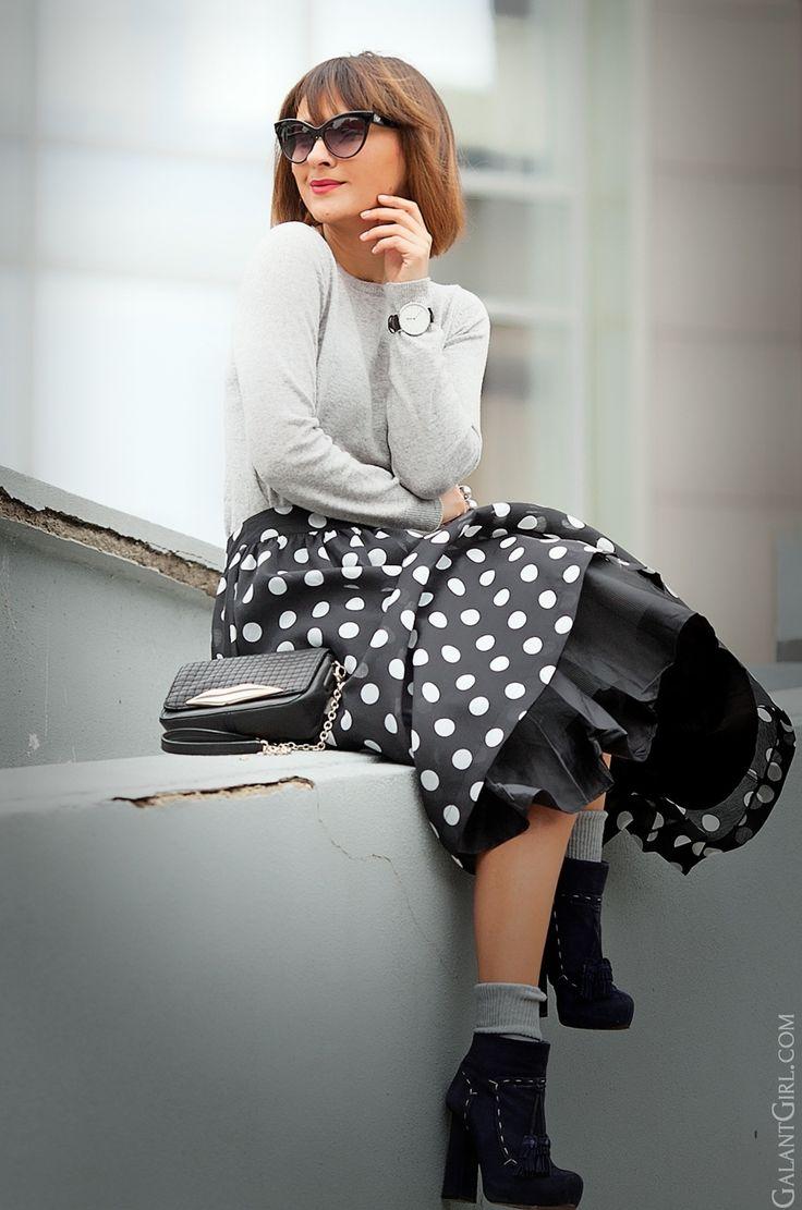 polka dot skirt outfit, galant girl, feminine winter outfit, feminine spring outfit, galant girl, ellena galant,