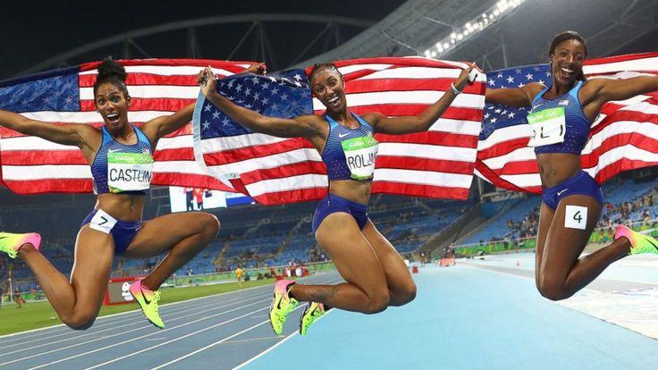 Kristi Castlin (silver), Brianne Rollins (gold), Nia Ali (bronze), Rio 2016 100m hurdles