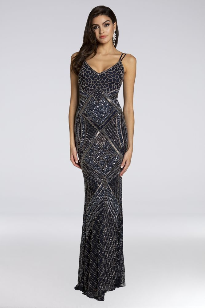 Lara Bree Beaded Mesh Sheath Gown Metallic Knit Dress Women Wedding Guest Dresses Slimming Dress Styles
