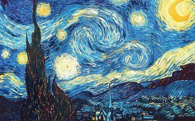 Scarica sfondi notte stellata, olio, de sterrennacht night, post-impressionista olandese artista, tela, 1889, new york