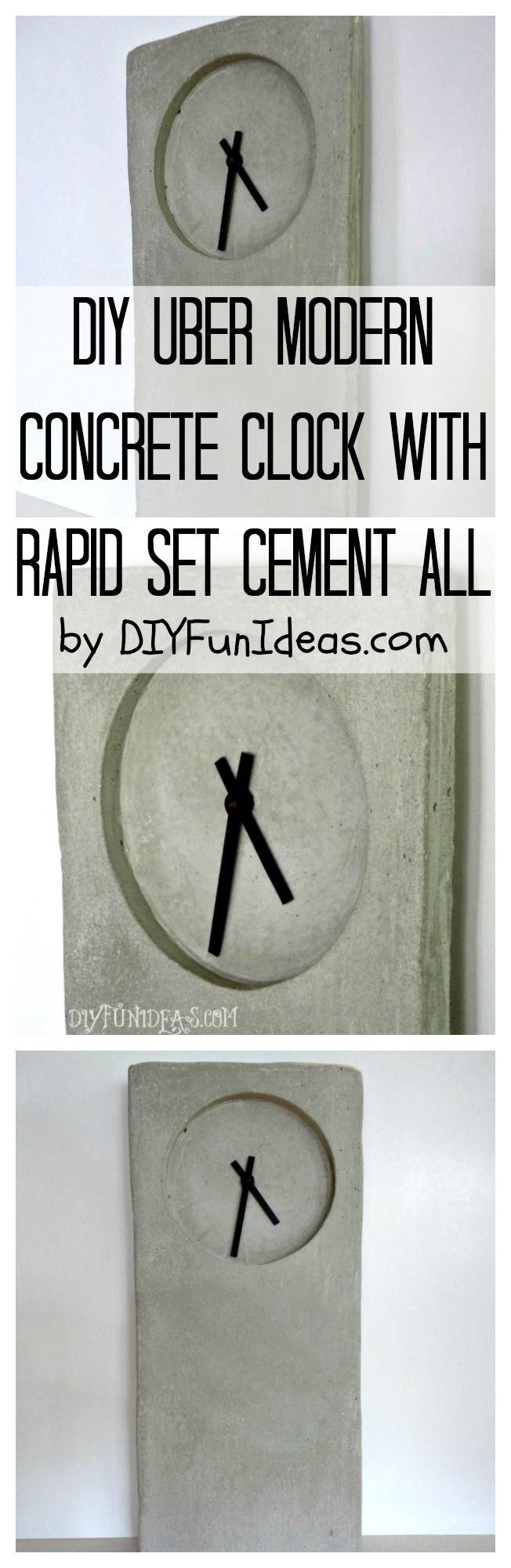 MODERN INDUSTRIAL #DIY #CONCRETE CLOCK TUTORIAL.......Plus tons more fun DIYs at DIYFunIdeas.com