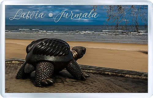 Acrylic Fridge Magnet: Latvia. Jurmala Resort Town. Beach View