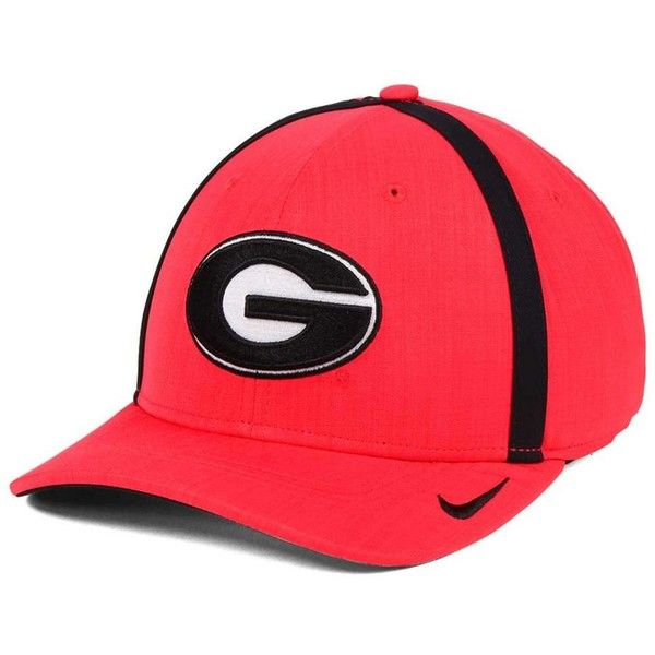 Nike Georgia Bulldogs Aerobill Sideline Coaches Cap ($32) ❤ liked on Polyvore featuring accessories, hats, red, red cap, georgia bulldogs cap, nike hat, red hat and crown cap hats