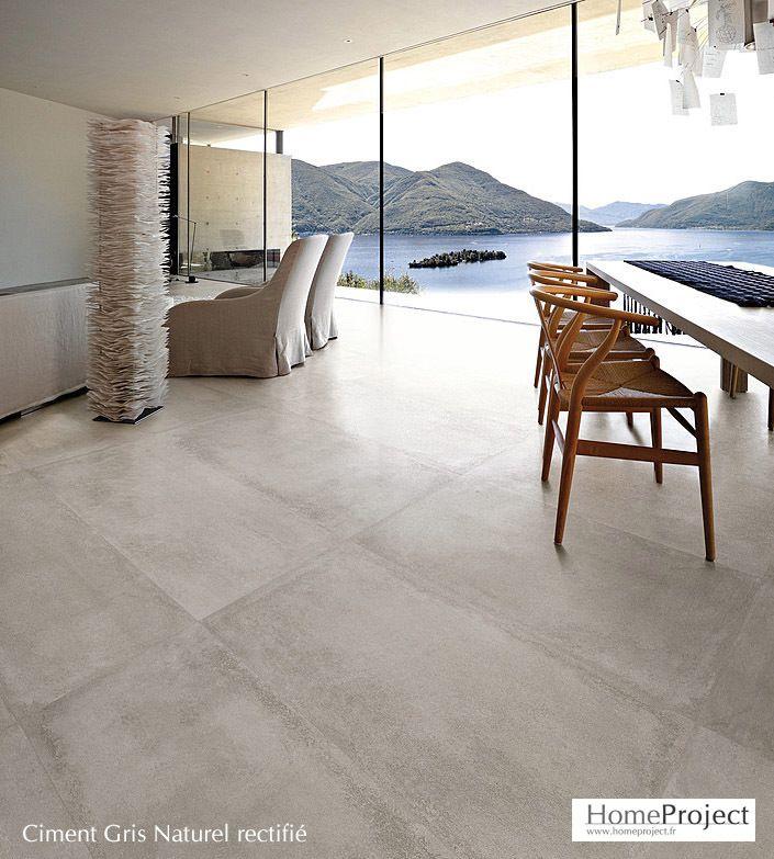 Carrelage ciment gris 60 x 120 cm lappato rectifi salon for Carrelage lappato