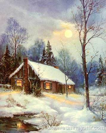 Harika yağlıboya kar manzara resim