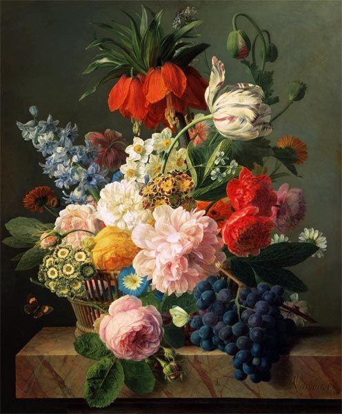Jan Frans van Dael-Blumen und Früchte