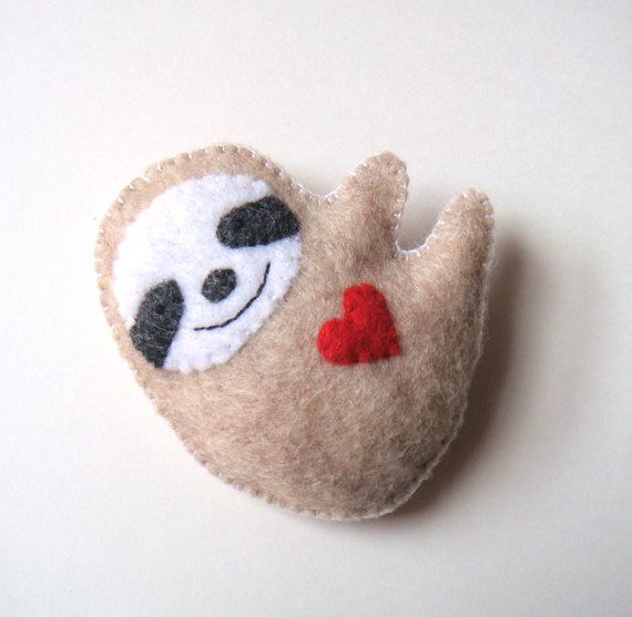 Sloth Felt Brooch Cute Funny Sloth Felt Pin Red Heart Love Soft Grey Unique Handmade Felt Accessory Softie Stuffed Animal Plush Sloth MiKa