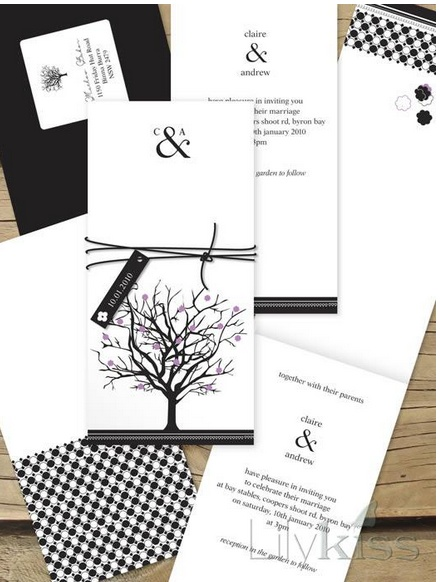 Jacaranda joy - Lilykiss wedding invitation.  Black and white.