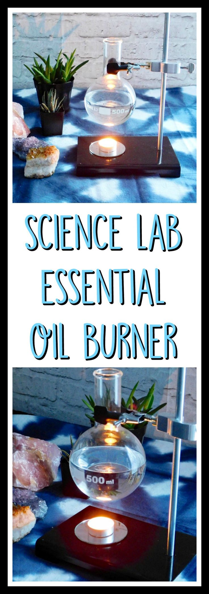 Lovely little lab stand essential oil burner. Check it out!  http://www.craftylittlegnome.com/2017/01/04/science-lab-essential-oil-warmer-diy/