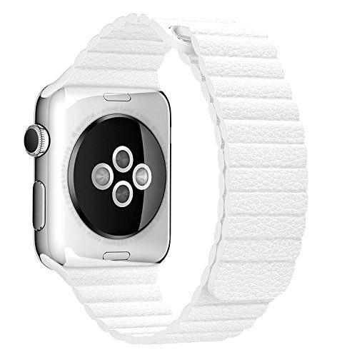 BRG Apple Watch Series 1 Series 2 Band 38mm Leather Loop with Adjustable Magnetic Closure iWatch Band Replacement Bracelet Strap for Apple Watch Sport and Edition 38mm Medium  White ** Click image to review more details.
