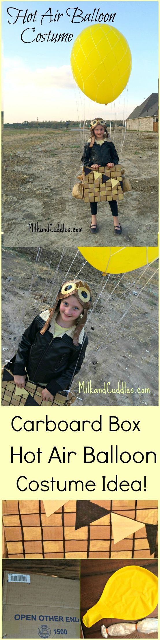 Aren't Cardboard box costumes the best?  There always seem to be a mound of boxes laying around our garage, and this Hot Air Balloon Costume is the perfect use for them! Not only is this DIY costume super unique, it's also very easy to make.  Here's how! #cardboardBox #Costumes #easycostumes