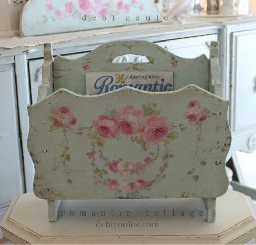 My Shabby French Vintage Roses double sided magazine stand now available at www.debicoules.com