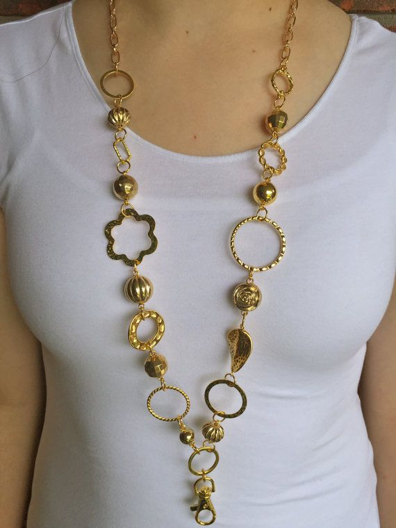 Chunky Gold Lanyard Necklace  Beaded Lanyard
