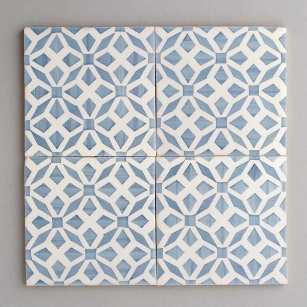 Aveiro tile - handpainted, handmade patterned grey and white tiles from Everett and Blue