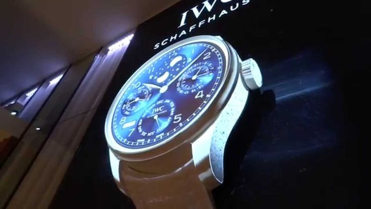 IWC giant clock at SIHH 2015 with tri-axial mapping displaying the time ...
