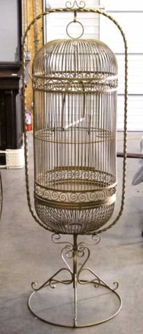 Antique Large Cast Iron Bird Cage
