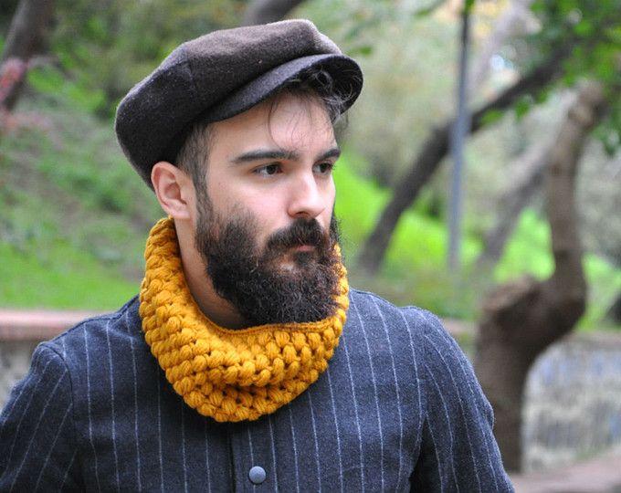 Mens Haube Schal stricken Kutte klobige Kutte Männer Snood Infinity Schal Herren Schal klobige Schal für Männer Circle Scarf - Senf / NIKE