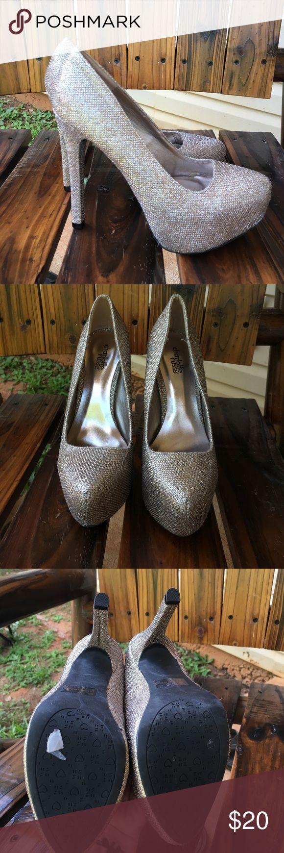 Gold glitter heels Beautiful gold glitter heels Charlotte Russe Shoes Heels
