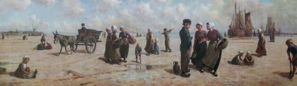 Henri Houben (1858-1931) Young fischerfolk on the beach, oil on canvas. Collection Simonis & Buunk, The Netherlands