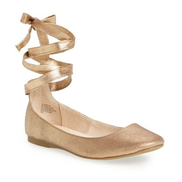Women's Steve Madden 'Bloome' Wraparound Tie Flat ($80) ❤ liked on Polyvore featuring shoes, flats, dusty gold, flat shoes, ballerina flat shoes, steve madden, tie flats and round toe flats