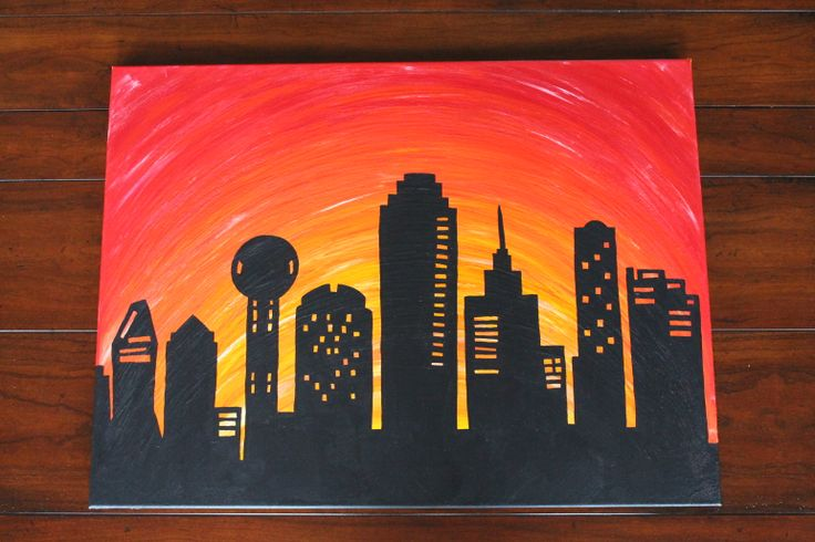 Canvas Painting. Dallas Skyline with sunset. Buy at: www.etsy.com/shop/mylifeinquotes