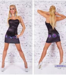 Στράπλες μίνι φόρεμα-ανθρακί