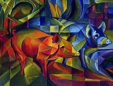 フランツ・マルク『豚』 Franze Marc -Die Schweine #表現主義 #青騎士