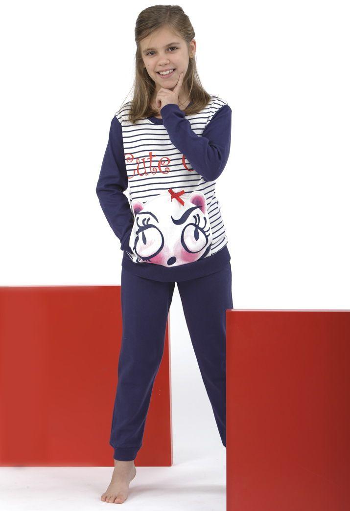 Pijama a rayas con osito suuuper amoroso :)
