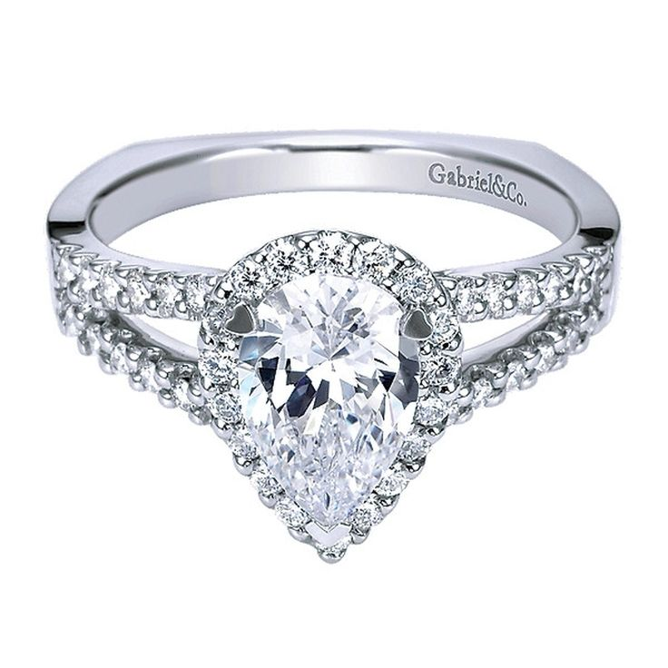 Pear Shaped Engagement Ring Halo and Split Shank by Gabriel and Co. #ER7743W44JJ. 1 ct center stone is not included.
