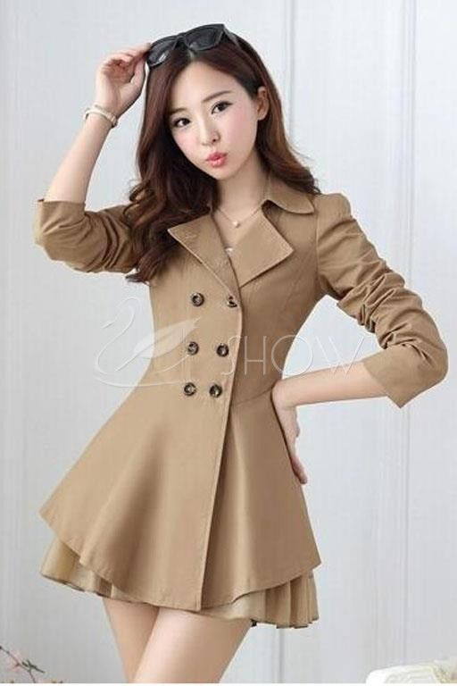 Длинный двубортный лацкан пальто