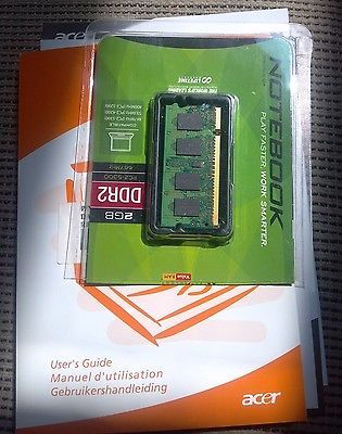 Like New!-1 GB Ram Memory Card from Acer Laptop Computer & Original User's Guide